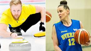 Curlingspelaren Niklas Edin och basketlandslagets Anna Barthold. Foton: TT.