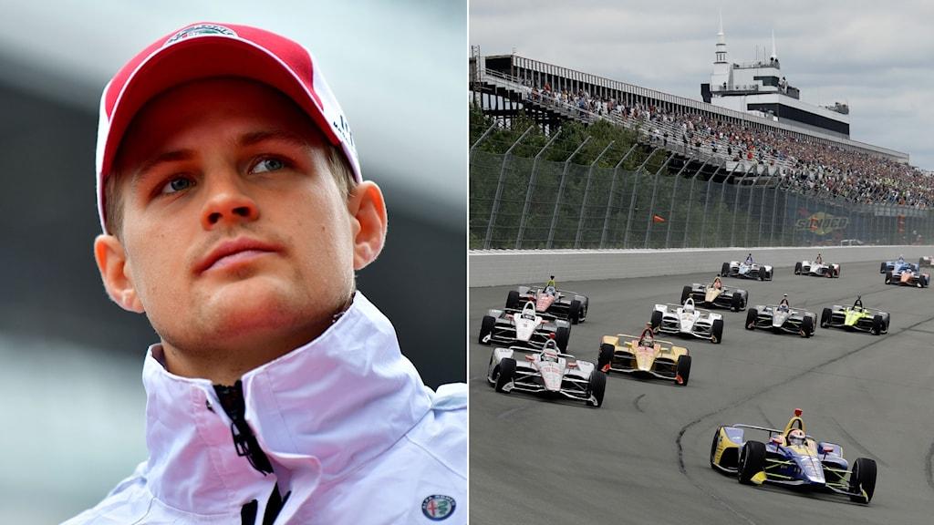 Collage Marcus Ericsson och Indycar. Foto: TT, collage SR