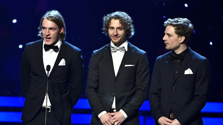 Herrstafettlaget i skidskytte vann Årets lag (Fredrik Lindström saknas).