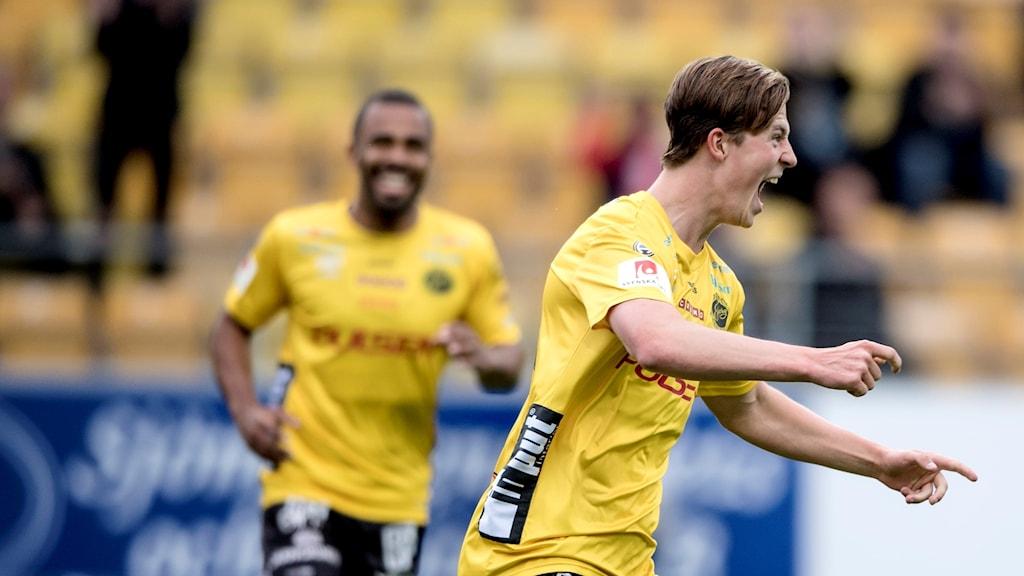 Elfsborgs Simon Olsson firar sitt första allsvenska mål mot Häcken, 2 juni 2017.