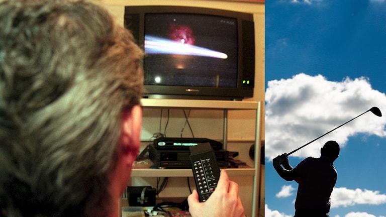 Tv-tittare och golf. Foto: TT, collage SR
