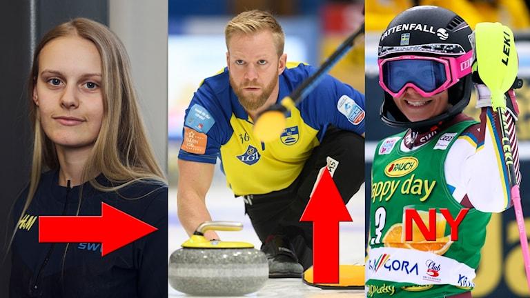 Jennie-Lee Burmansson, Niklas Edin och Frida Hansdotter.