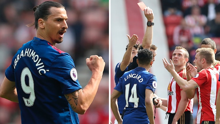 Zlatan Ibrahimovic gjorde mål medan Sebastian Larsson fick rött kort.