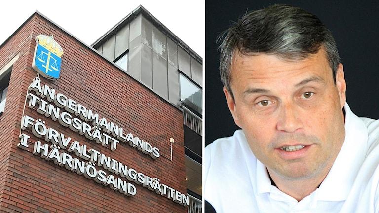 Två bilder: Tegelfasad Ångermanlands tingsrätt samt porträttbild mörkhårig, kortklippt man i vit tröja