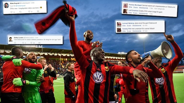 Östersund hyllas stort på sociala medier efter sitt avancemang till Europa Leagues gruppspel.