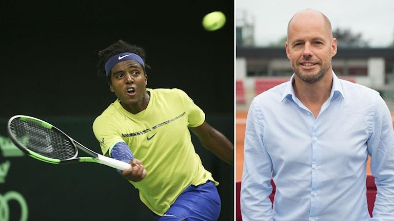 Elias Ymer är ett av Sveriges stora tennisnamn. Till höger Christer Sjöö.