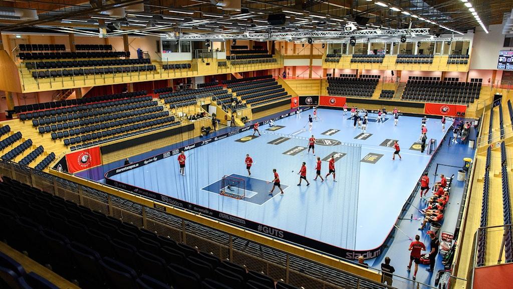 Interiör av IFU Arena inför innebandymatchen i herrarnas SSL mellan Storvreta och Växjö den 17 december 2020 i Uppsala.