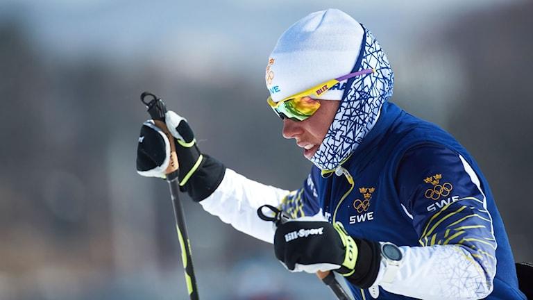 Charlotte Kalla tränar på Alpensia Cross Country Skiing Center.