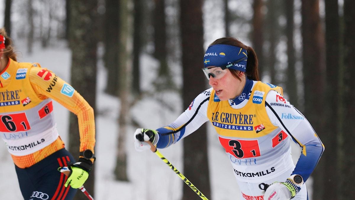 Charlotte Kalla under stafetten i Lahtis 24 januari 2021. Foto: KALLE PARKKINEN/Bildbyrån
