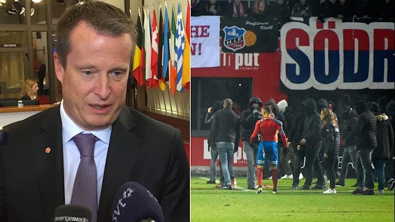 Anders Ygeman vill se hårdare krav på klubbarna efter skandalscenerna i Helsingborg.