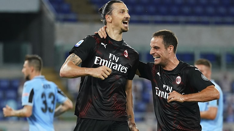 Milans Zlatan Ibrahimovic jublar. Foto: Spada/AP