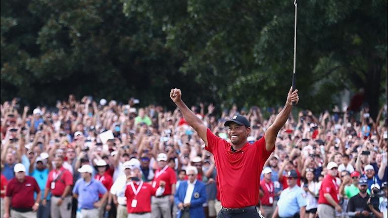 2018 Tiger Woods vinner the TOUR Championship. Foto: Tim Bradbury/TT