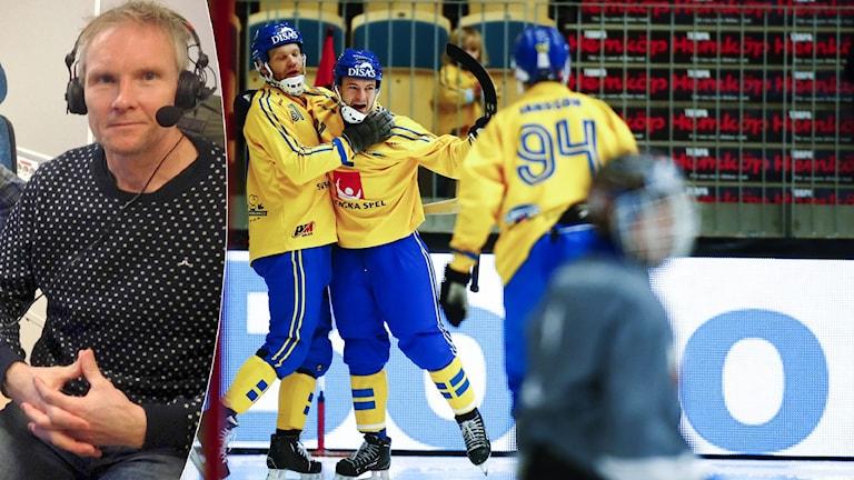 Collage Göran Rosendahl och landslagsjubel. Foto: SR och Thomas Johansson / TT