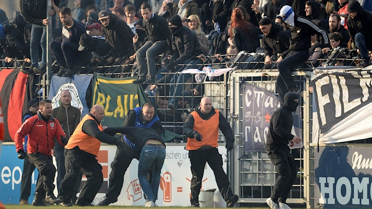 Ett Cottbus-fan brottas ned av säkerhetsvakter under matchen mot Babelsberg.
