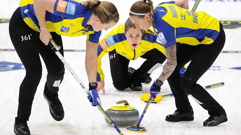 2017 Lag Anna Hasselborg curling-EM. Foto: © WCF /Celine Stucki / Richard Gray