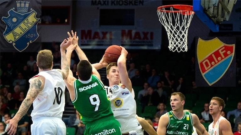 Basketligan längtar efter AIK Djurgården. Foto: TT, collage SR