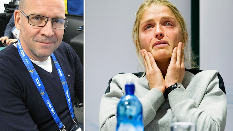 Radiosportens skidexpert Torgny Mogren och Therese Johaug.