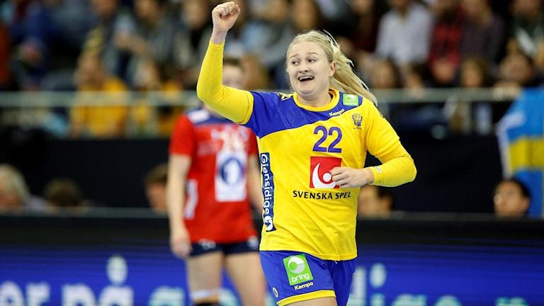 Hanna Blomstrand gjorde sju mål i kvartsfinalen.