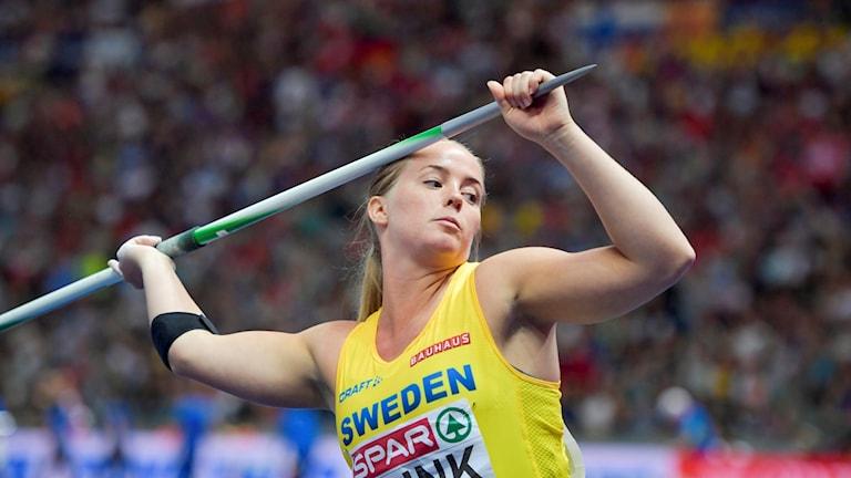 Sofi Flink under EM-finalen i spjut.