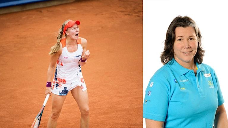 Johanna Larsson och tennisexperten Maria Strandlund-Tomsvik.