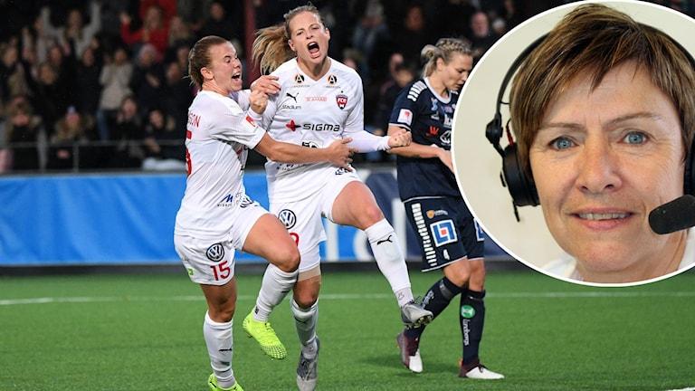 Rosengårdsjubel efter 3-3 och Anette Börjesson.
