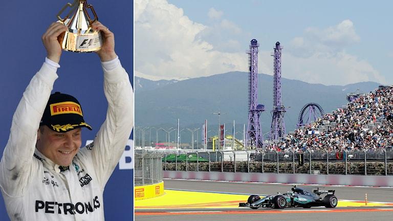 Formel 1 föraren Valtteri Bottas lyfter pokalen efter segern i Sotji.