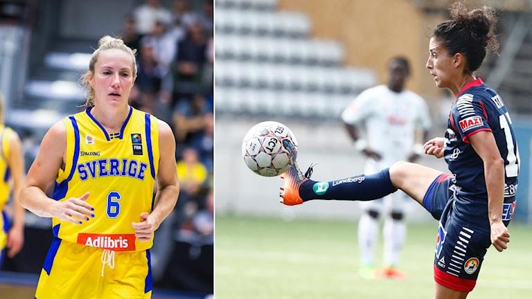 Sveriges Frida Eldebrink och Linköpings Claudia Neto.