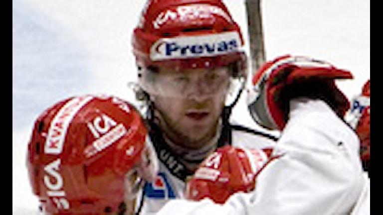 ARKIV: 09-02-11 Almtuna jublar efter att ha reducerat i den 1:a perioden i tisdagens allsvenska ishockeymatch mellan AIK och Almtuna på Hovet i Stockholm. Foto: Pontus Lundahl / Scanpix.