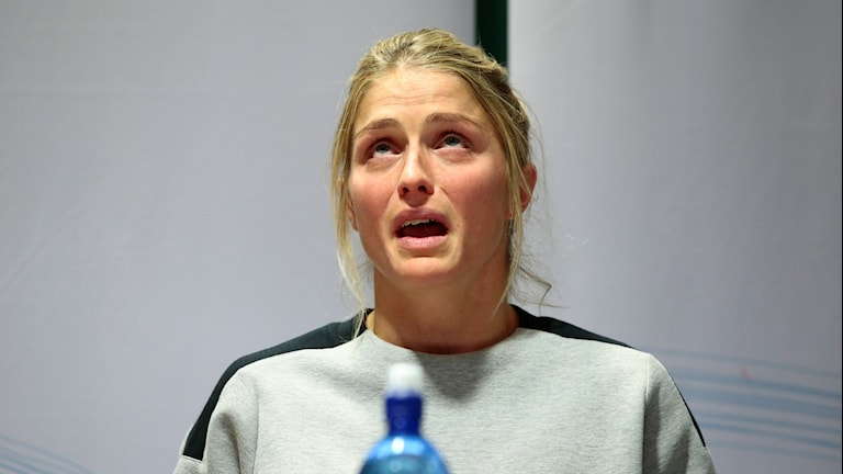 Therese Johaug under torsdagens pressträff.