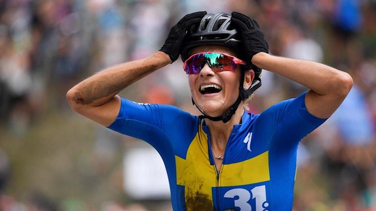 Jenny Rissveds efter världscupsegern i Schweiz.