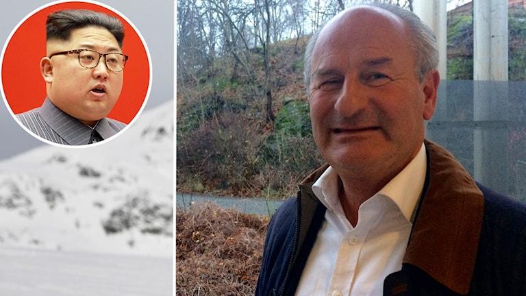 Carl-Johan Evers med inklippt bild på Nordkoreas ledare.