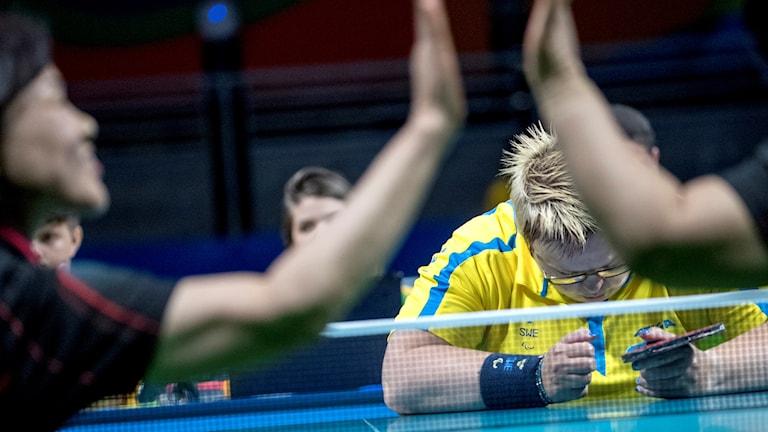 Ingela Lundbäck deppar efter förlusten mot Sydkorea.