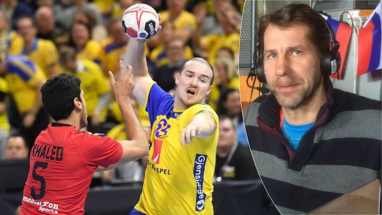 Svenska handbollsherrarna och Magnus Wislander. Foto: TT och SR