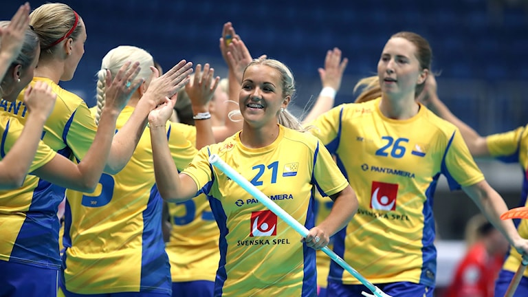 Sverige i semifinalen mot Tjeckien under innebandy-VM i Bratislava.