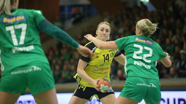 Sävehofs Linnea Pettersson under tredje SM-finalen mot Skuru 2019.