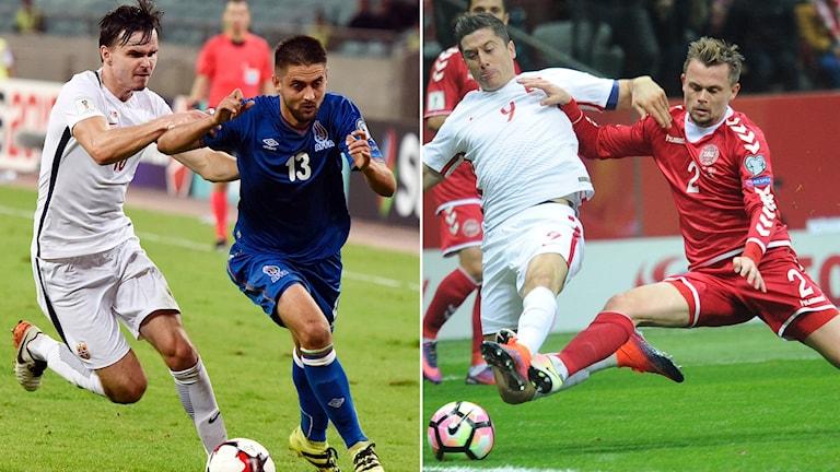 Norge-Azerbajdzjan och Polen-Danmark.