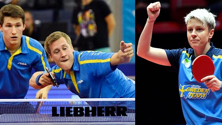 Det blev dubbla dubbelframgångar för Sverige vid bordtennis-EM på lördagsförmiddagen.