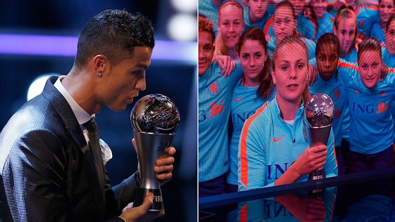 Cristiano Ronaldo och Lieke Martens utsågs till årets spelare på Fifa-galan.