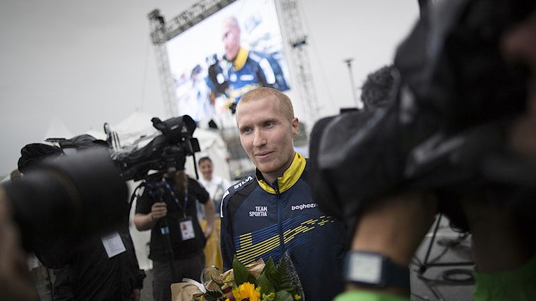 2016-08-20 Sveriges Jerker Lysell vinner guldet under lördagens final i sprint under orienterings-VM i Strömstad. Foto Björn Larsson Rosvall / TT