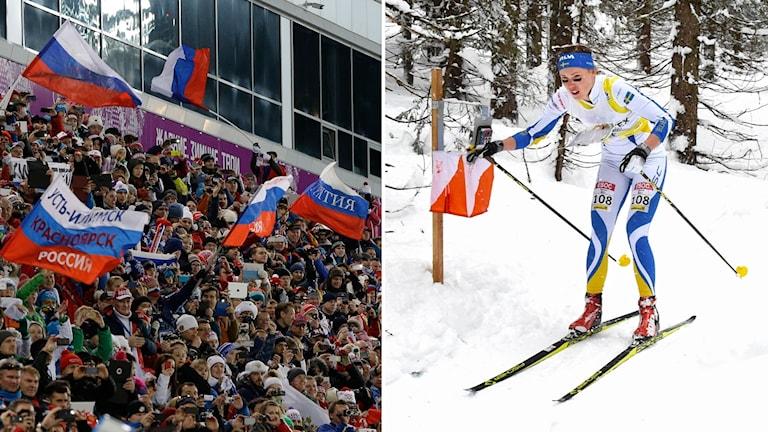 Rysk publik och Tove Alexandersson i skidorienterings-EM 2016.