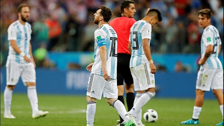 VM 2018 Argentina deppar efter förlusten mot Kroatien. Foto: Ricardo Mazalan/TT