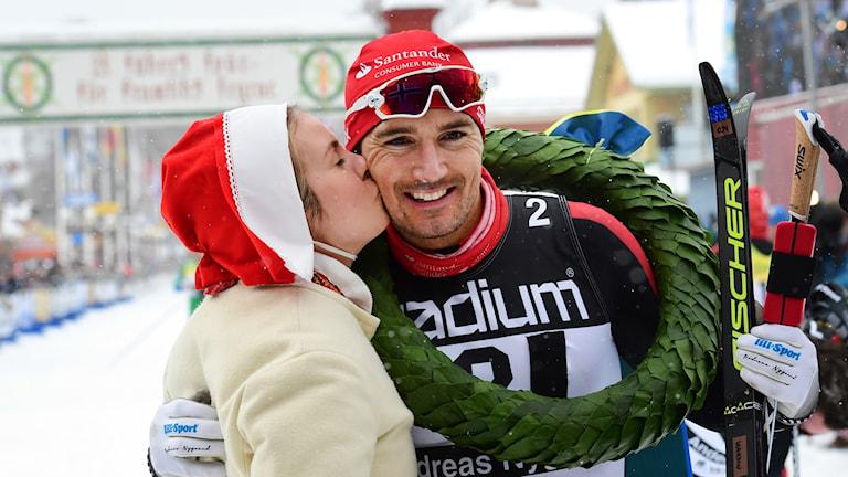 Andreas Nygård, Norge, vinnare av Vasaloppet 2018. Foto: Ulf Palm/ TT.