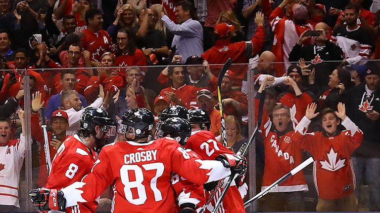 Kanadensiska fans firar mål mot Ryssland i World Cup.
