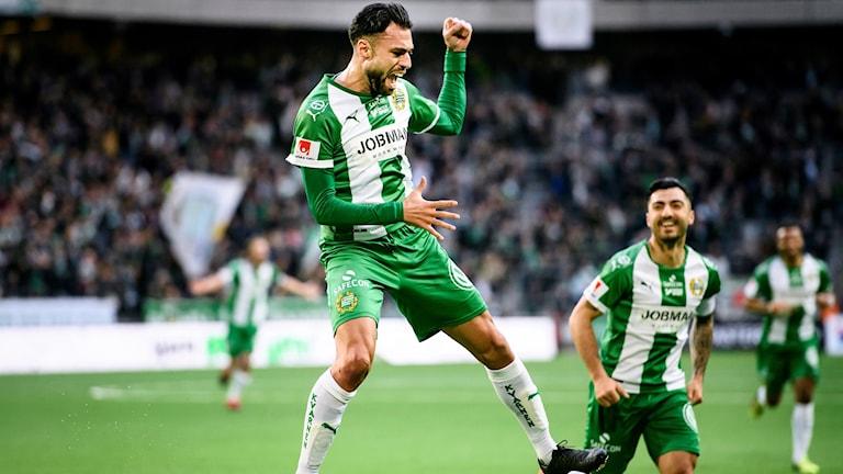 Hammarbys Imad Khalili jublar efter 1-0 under måndagens allsvenska fotbollsmatch mellan Hammarby IF och Brommapojkarna på Tele2 Arena.