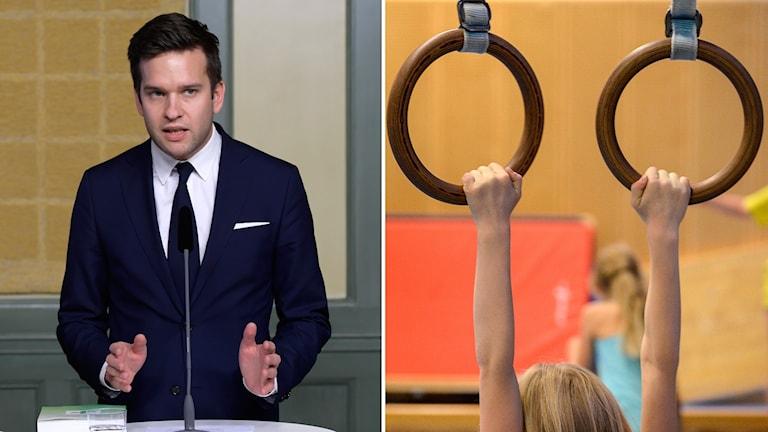 Idrottsminister Gabriel Wikström och gymnastiklektion i skolan.