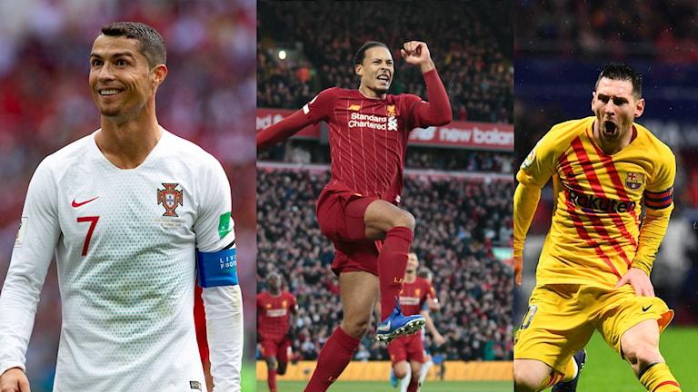 Toppkandidaterna är Messi, Ronaldo och van Dijk.