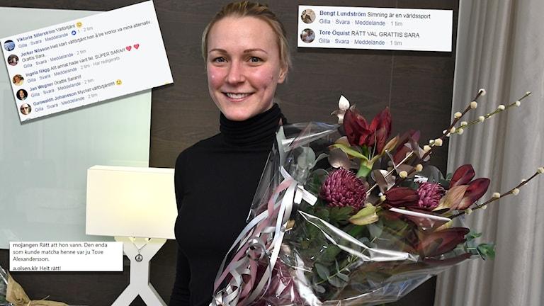 Radiosportens publik är nöjd med valet av att ge Sarah Sjöström Bragdguldet.