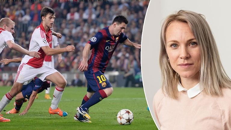 Johanna Frisk och Messi. Foto: TT och SR
