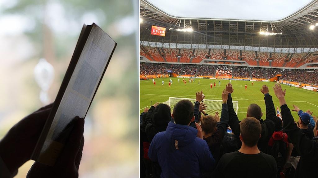 bild på en bok och en fotbollsläktare