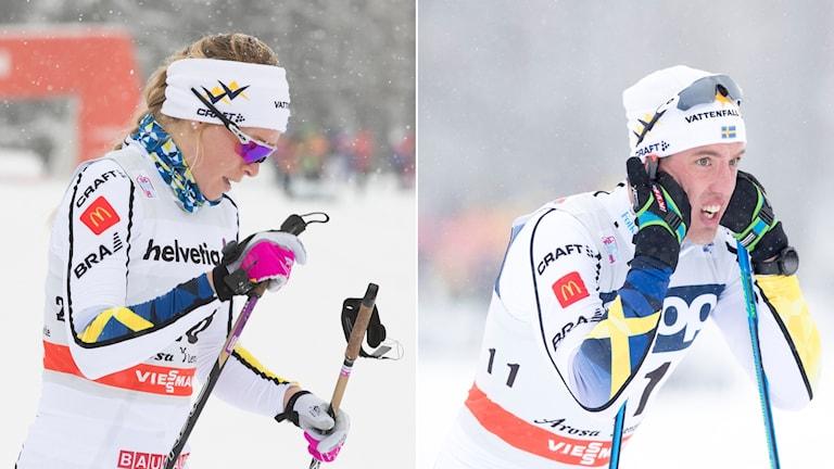 Jennie Öberg och Calle Halfvarsson föll båda i kvarten.